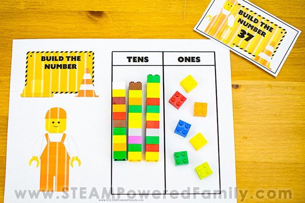 Math Place Value Practice Sheet With LEGO