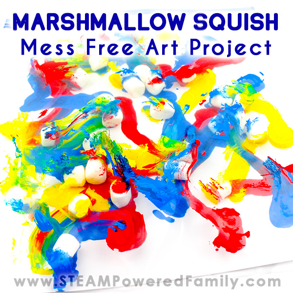Marshmallow squish with gorgeous primary colours. Created with a mess free technique in a bag.