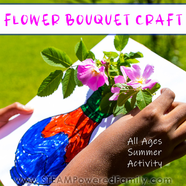 Boy creating a gorgeous flower craft with fresh flowers from the garden.