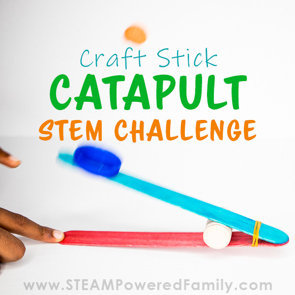 Craft stick catapult powered up