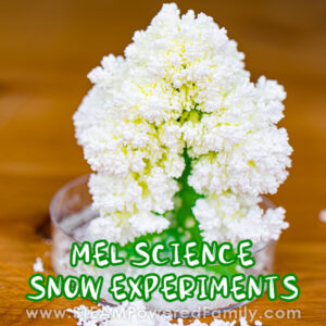 Winter Science Experiments making fake snow.