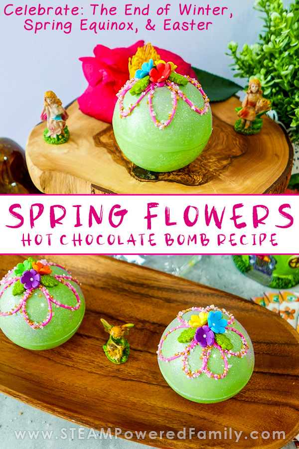 Spring Hot Chocolate Bombs with Sparkle